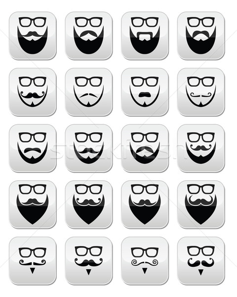 Beard and glasses, hipster buttons set Stock photo © RedKoala