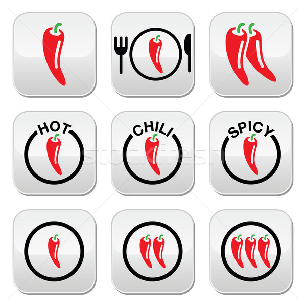 Red hot chili peppers buttons set Stock photo © RedKoala