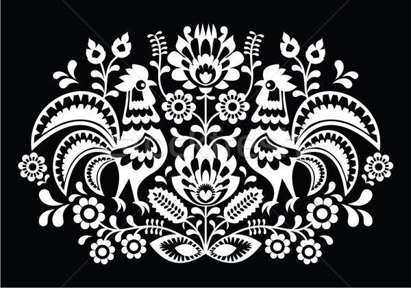 Polish folk art pattern roosters on black - Wzory Lowickie, Wycinanka  Stock photo © RedKoala