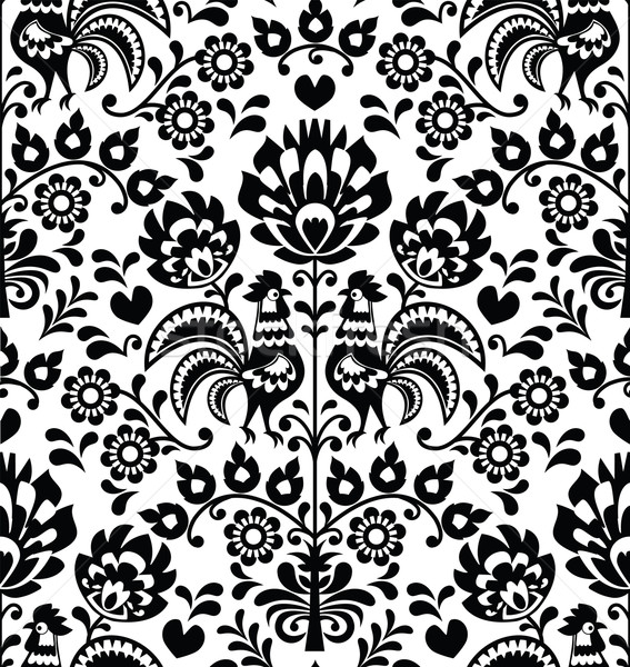 Seamless floral Polish folk pattern - Wycinanki, Wzory Lowickie Stock photo © RedKoala