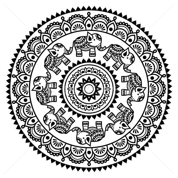 Round Mehndi, Indian Henna tattoo pattern   Stock photo © RedKoala