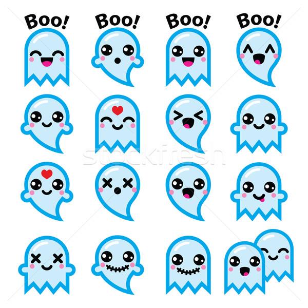 Kawaii cute fantasma halloween azul Foto stock © RedKoala