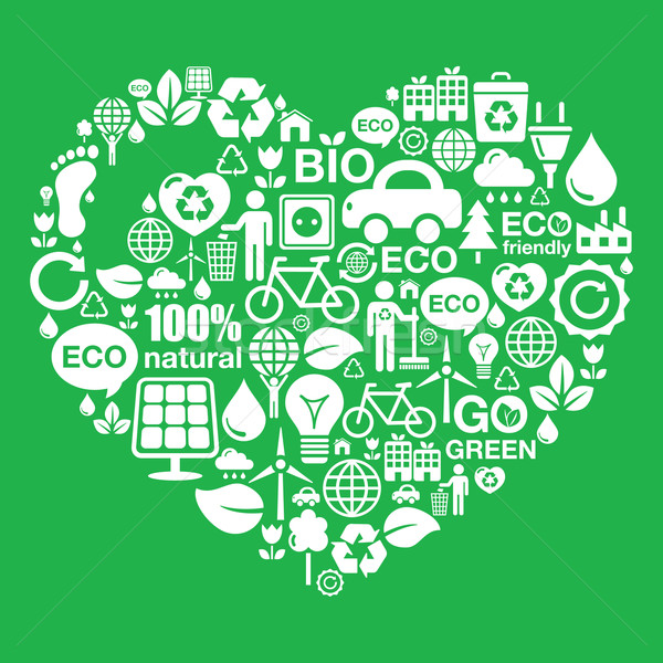 Eco Green Heart Shape Background Ecology Recycling