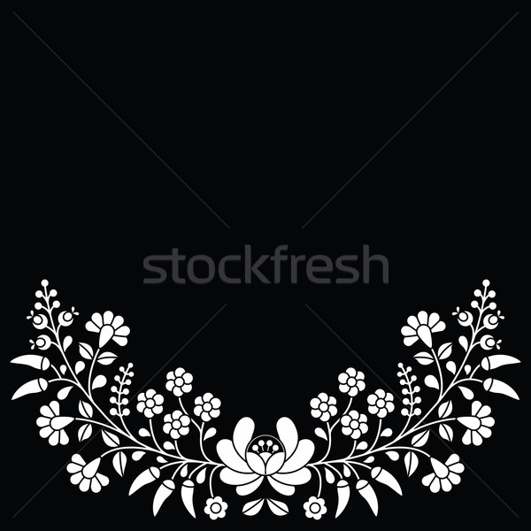 Hungarian white floral folk pattern - Kalocsai embroidery with flowers and paprika  Stock photo © RedKoala