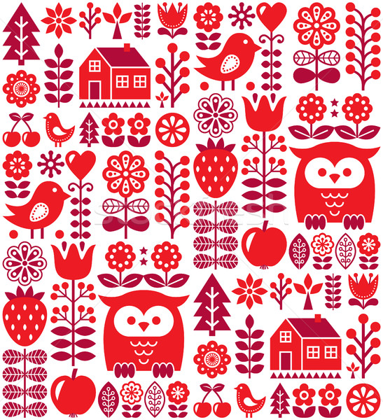 Scandinavian seamless pattern - red Finnish folk art, Nordic style      Stock photo © RedKoala