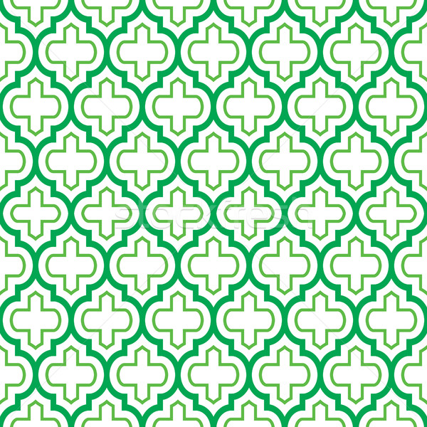 Geometric seamless pattern, Moroccan tiles design, green background Stock photo © RedKoala