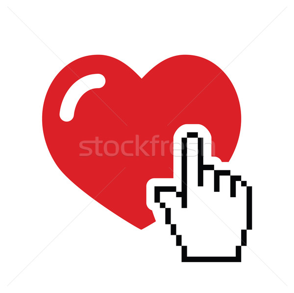 Heart with cursor hand icon - velntines, love, online dating concept Stock photo © RedKoala