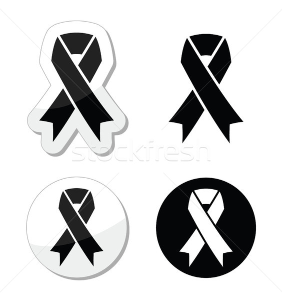 Black ribbon - mourning, death, melanoma symbol Stock photo © RedKoala