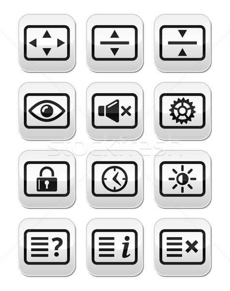 Computer tv monitor screen vector buttons set Stock photo © RedKoala