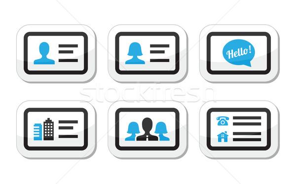 Business card vector icons set Stock photo © RedKoala