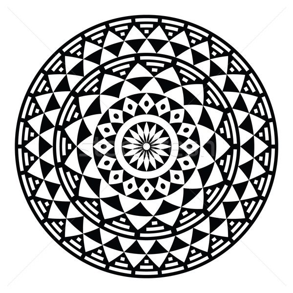 Tribal aztec geometric pattern or print in circle - folk Stock photo © RedKoala