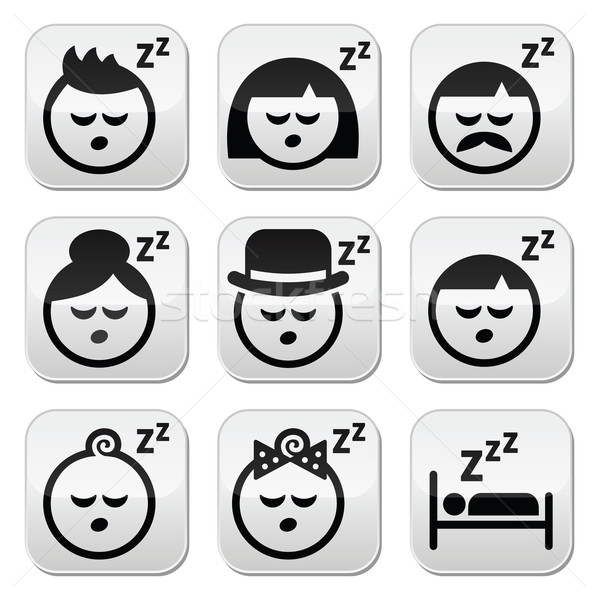 Sleeping, dreaming people faces buttons set Stock photo © RedKoala