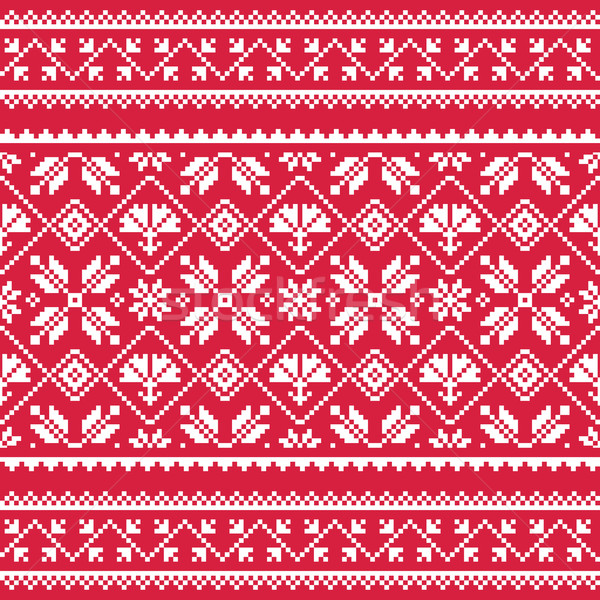 Ukrainian, Slavic folk art white embroidery pattern on red   Stock photo © RedKoala