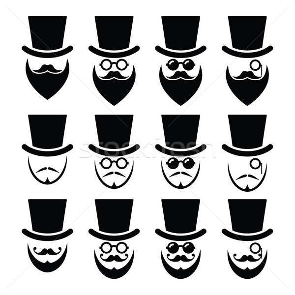 Man with hat with beard and glasses icons set  Stock photo © RedKoala