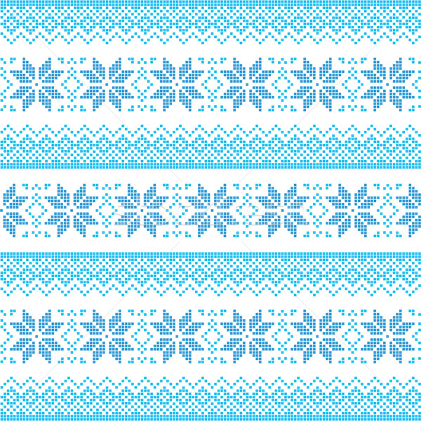Tél karácsony kék végtelenített pixeles minta Stock fotó © RedKoala