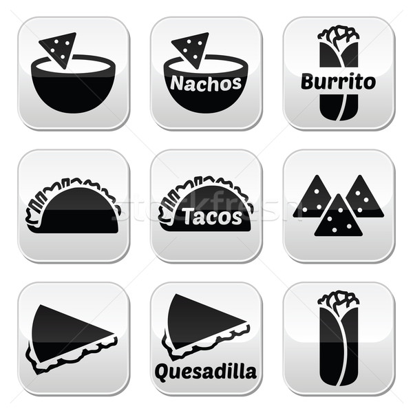 Mexican food buttons - tacos, nachos, burrito, quesadilla  Stock photo © RedKoala