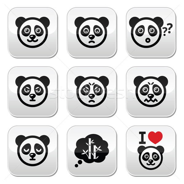 Panda bear buttons set - happy, sad, angry isolated on white Stock photo © RedKoala