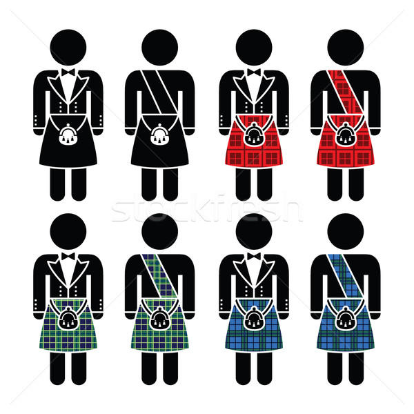 Scotsman, man wearing kilt vector icons set Stock photo © RedKoala