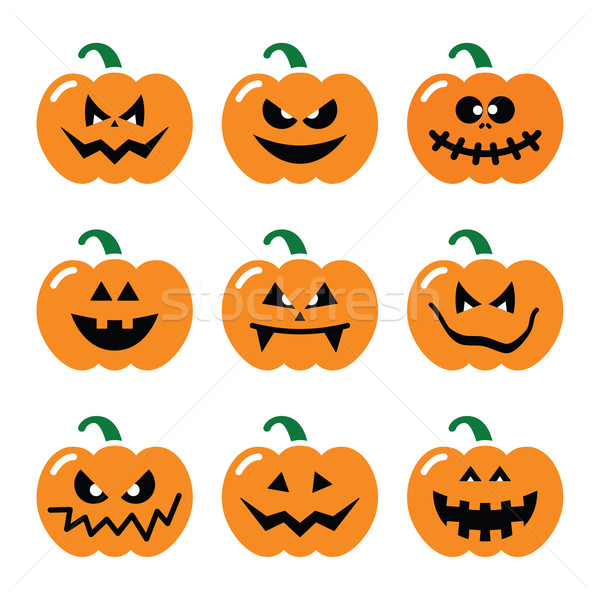 Halloween pumpkin vector icons set  Stock photo © RedKoala