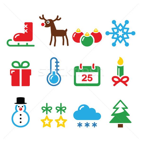 Christmas winter icons set    Stock photo © RedKoala