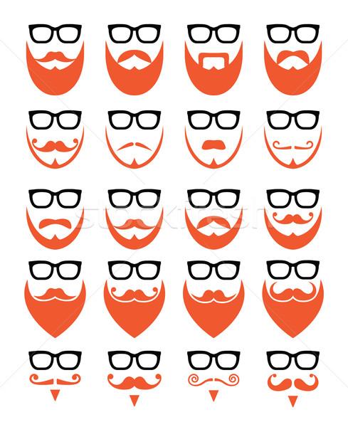 Ginger beard and glasses, hipster icons set  Stock photo © RedKoala