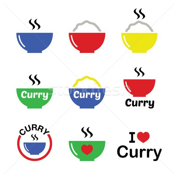 Curry indiai fűszeres étel ikon szett vektor Stock fotó © RedKoala