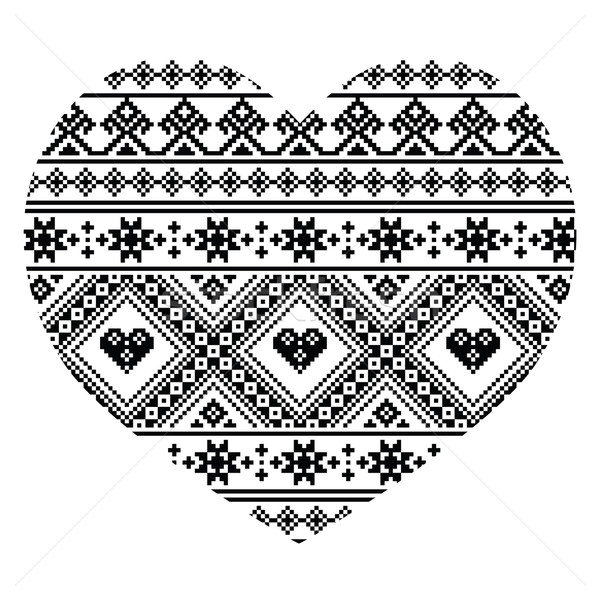 Traditional black Ukrainian or Belarusian folk art heart pattern - Valentine's Day Stock photo © RedKoala