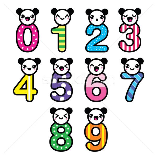 Sevimli ayı kawaii sayılar ayarlamak vektör Stok fotoğraf © RedKoala