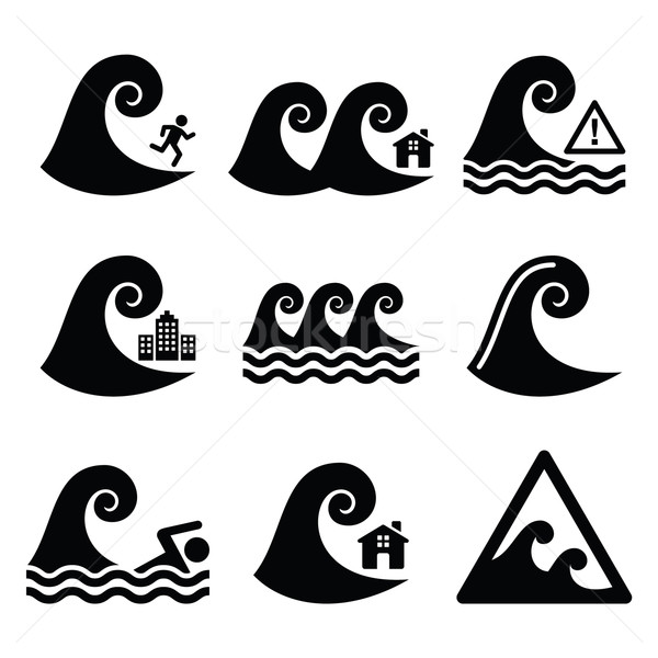 Tsunami, big wave warning, neutral disaster icons set  Stock photo © RedKoala