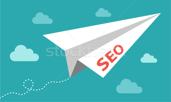 Seo google résultats papier avion nuages Photo stock © RedKoala