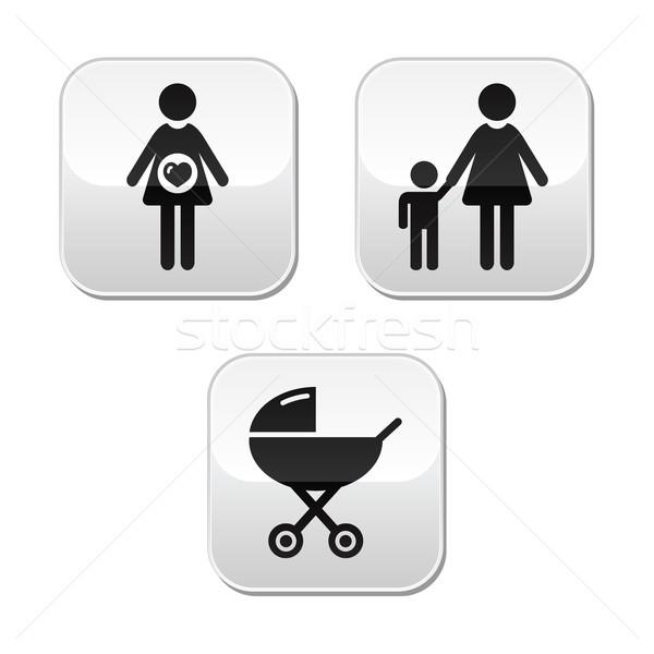 Bebek gebelik düğmeler ayarlamak annelik Stok fotoğraf © RedKoala