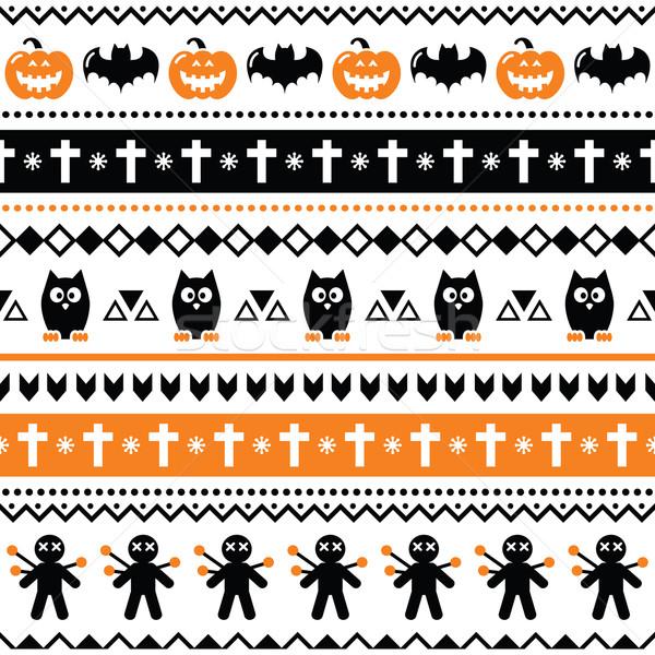 Halloween seamless pattern - pumpkin, ghost, voodoo doll  Stock photo © RedKoala