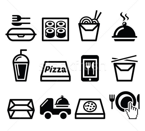 Take away box, meal vector icons set Stock photo © RedKoala