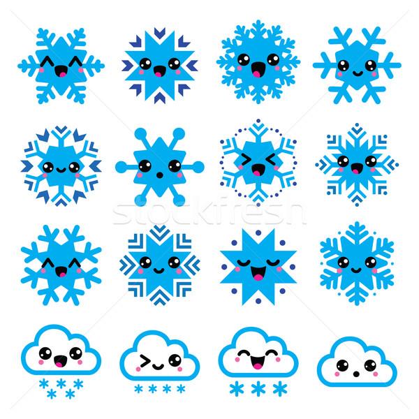 Kawaii sneeuwvlokken wolken sneeuw christmas winter Stockfoto © RedKoala