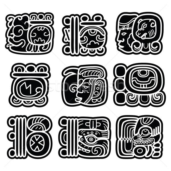 Mayan writing system, Maya glyphs and languge vector design   Stock photo © RedKoala