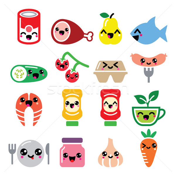 Kawaii cute food characters - meat, vegetables, fruit icons set Stock photo © RedKoala