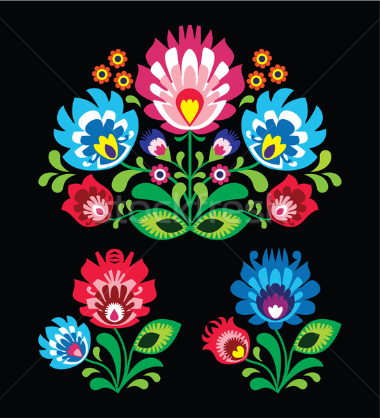 Stock photo: Polish floral folk embroidery pattern on black - wzor lowicki