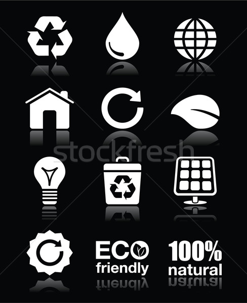 Zdjęcia stock: Ekologia · zielone · recyklingu · wektora · biały