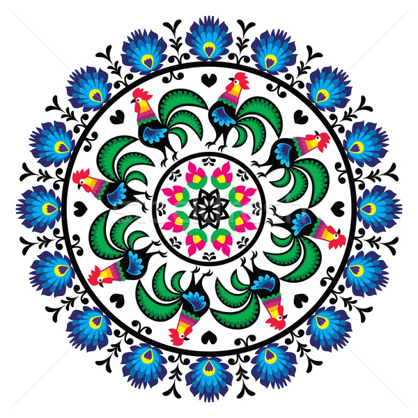 Stock photo: Polish traditional folk art pattern in circle with roosters - Wzory Lowickie, Wycinanka