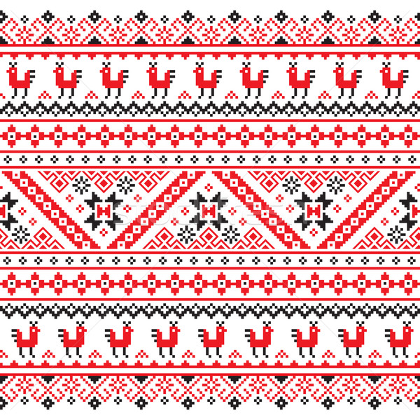 Ukrainian, Belarusian red and black embroidery seamless pattern - Vyshyvanka  Stock photo © RedKoala