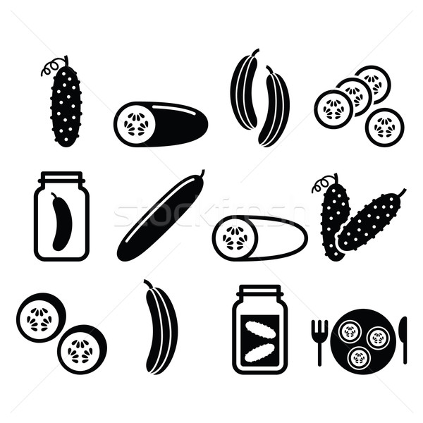 Cucumber, pickled, cucumber slices - food vector icons set Stock photo © RedKoala