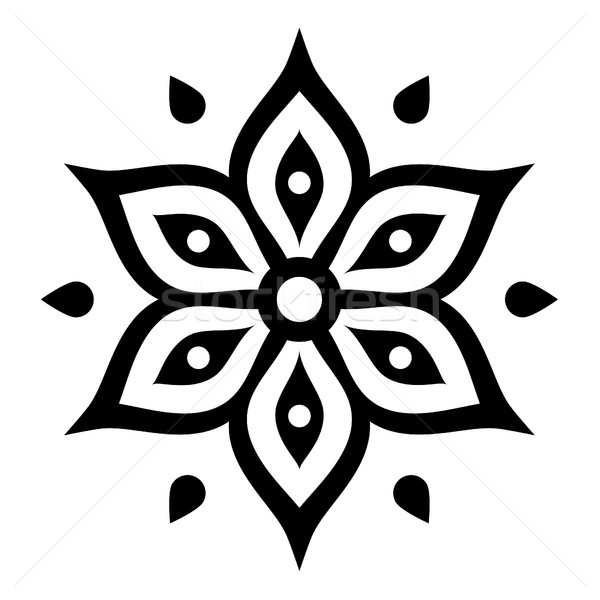Boho flower design inspired by Mehndi - Indian Henna tattoo Stock photo © RedKoala
