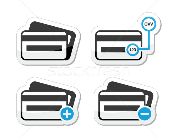 Credit Card, CVV code icons as labels set Stock photo © RedKoala