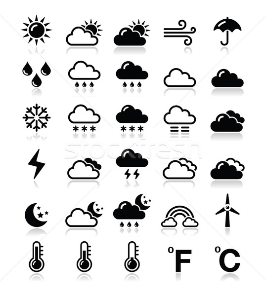 Stock photo: Weather icons set - vector