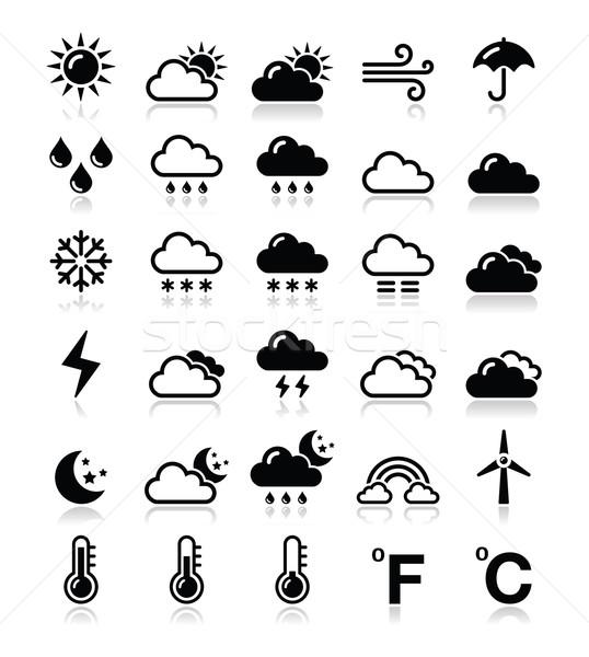Wetter Vektor schwarz Jahreszeiten Reflexion Stock foto © RedKoala