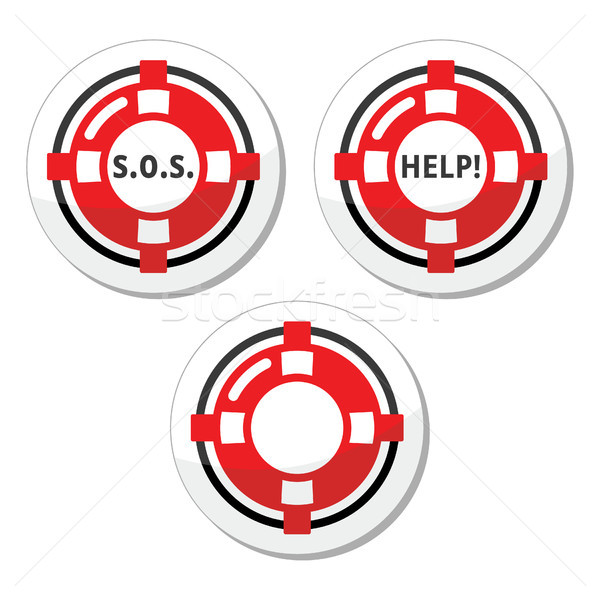 Life belt, help, s.o.s. vector icons set Stock photo © RedKoala