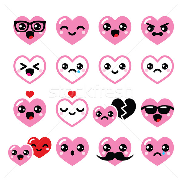 Kawaii coeurs saint valentin cute vecteur Photo stock © RedKoala