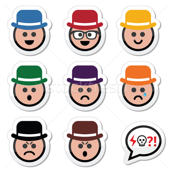 Man in hat faces vector icons set Stock photo © RedKoala