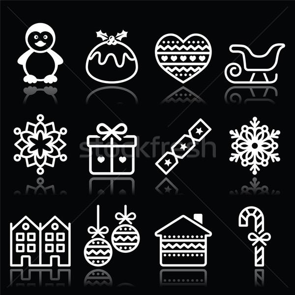 Foto stock: Natal · inverno · branco · ícones · preto · vetor