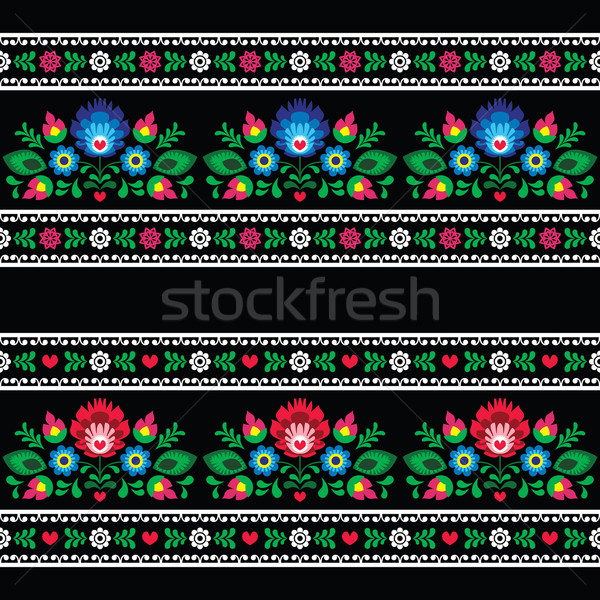 Seamless Polish folk art pattern with flowers - wzory lowickie on black  Stock photo © RedKoala
